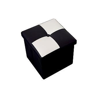 Puff Stool Baule wit zwart kubus modern design 30x30x30