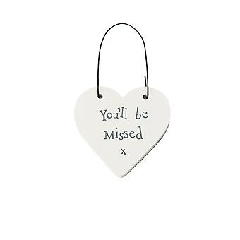 You-apos;ll Be Missed - Mini Wooden Hanging Heart - Cracker Filler Cadeau