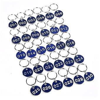 40PCS 3.5cm Round Plastic Sign with Iron Ring Blue