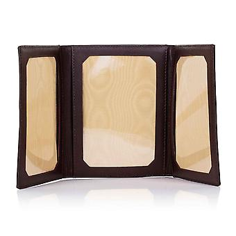 Mocha Oxford Leather Triple Picture Frame
