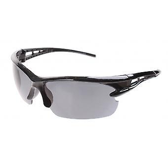 Sunglasses Unisex Sport Half Frame Black with Smoked Glass