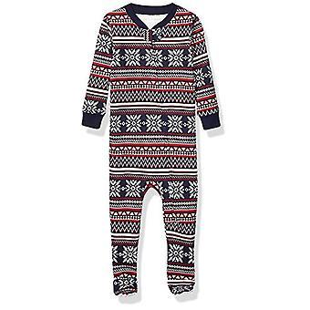 Essentials Kids Vauva ja taapero Vetoketjullinen jalkainen nukkuja, Navy Fairisle, 5T