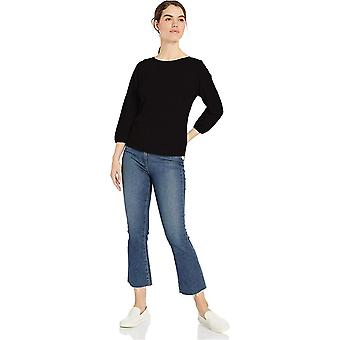 Daily Ritual Women's Lightweight Lived-In Cotton Puff-Sleeve, Black, Size Small
