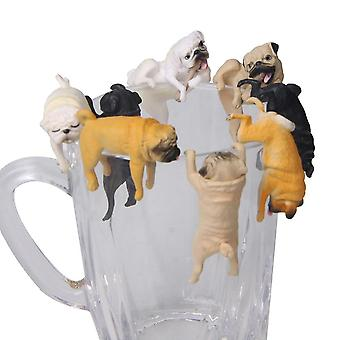 Realistic Mini Pug Dog Figurine Hanging On Cup Rim - Diy Fairy Garden Accessory