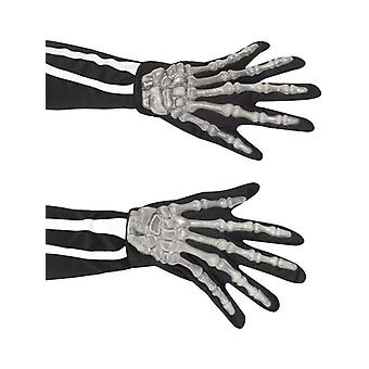 Adults Black Skeleton Gloves Halloween Fancy Dress Accessory
