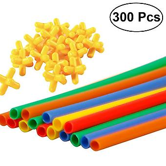 300pcs Constructeur Interlocking Engineering Pailles et Connecteurs Ensemble
