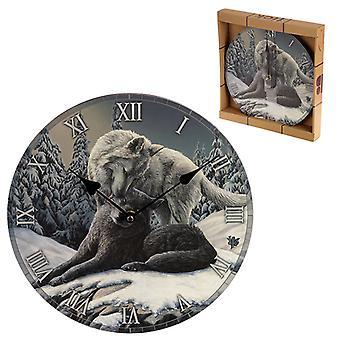 Koristeellinen fantasia lumi suutelee wolf seinäkello x 1 pakkaus