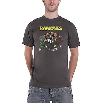 Ramones T Shirt Road to Ruin Band Logo uusi virallinen Mens Charcoal Grey