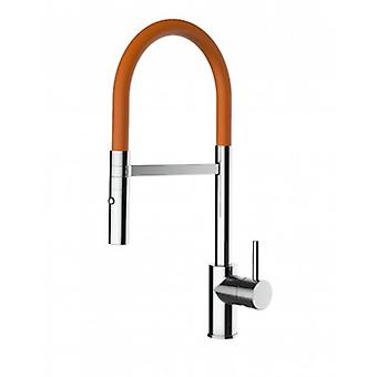 Kitchen Single-lever Sink Mixer With Orange Movable Spout And 2 Jets Shower - Low Version 43 Cm - 554
