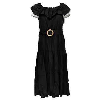 Democracy Dress Off-Shoulder Tiered Flounce With Belt Black 700-610