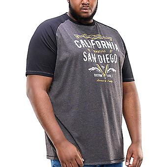 Duke D555 hombres big Tall King Size Lismore camiseta Raglan impresa - Khaki Marl