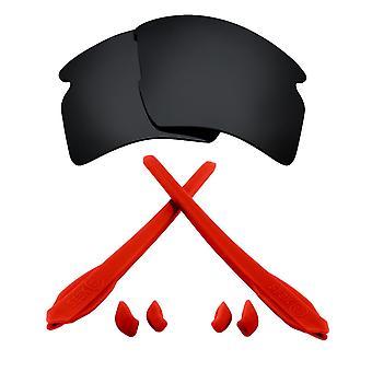 Polarizované náhradné šošovky Kit pre Oakley Flak 2,0 XL Čierna červená Anti-Scratch Anti-oslnenia UV400 od SeekOptics