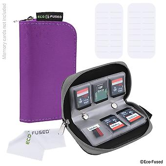 Eco-fused memory card carrying case - suitable for sdhc and sd cards - 8 pages and 22 slots - eco-fu