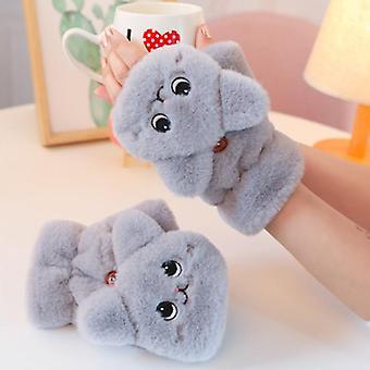 Winter Warm Soft Rabbit Fur Knit Wantens Vrouwen Half Finger Driving Gloves Pluche