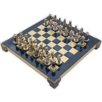 Manopoulos bysantinske riket Chess sett med trekassen i blått