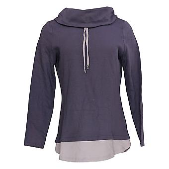 Denim & Co. Women's Top Long Sleeve Collated Purple A350049