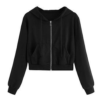 Zip-up Herbst Winter Frauen Hoodies, Taschen schlanke Crop Jacke, weibliche Kleidung