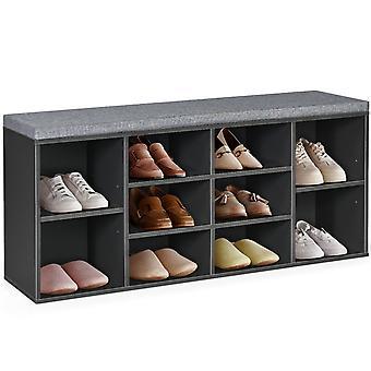 Shoe Bench Shoe Cabinet Cushioned Storage Organizer Rack Wooden Hallway Bench