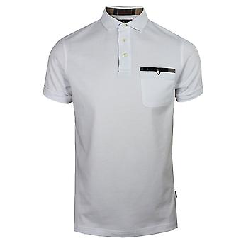 Barbour men's white corpatch polo shirt