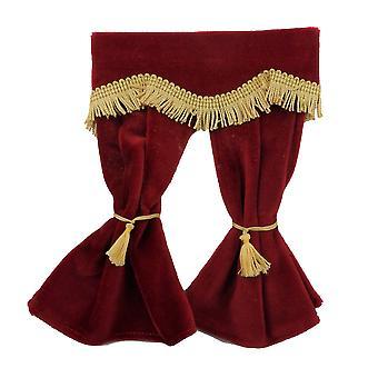 Dolls House Red Velvet Curtains Gold Fringe Janela Acessório 1:12 Escala