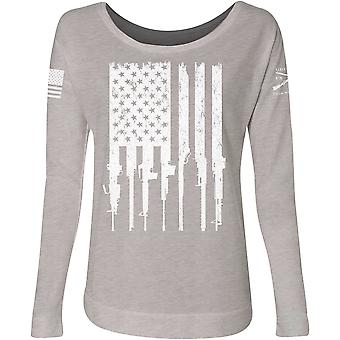 Grunt Style Women's Rifle Flag French Terry Scoop Neck Long Sleeve T-Shirt- Gray