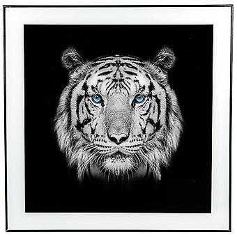 Large Monochrome Tiger Print with Black Frame
