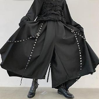 Men Ribbon Dark Wide Leg Pants Male Women Japan Punk Gothic Harem Trousers