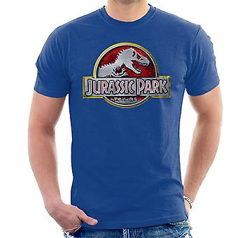Jurassic Park Yellow Outline Classic Logo Men's T-Shirt