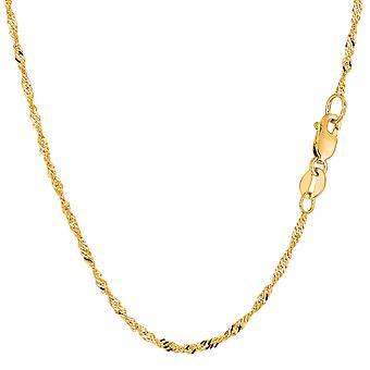 "14 k gult guld Singapore kedja armband, 1,7 mm, 7 """
