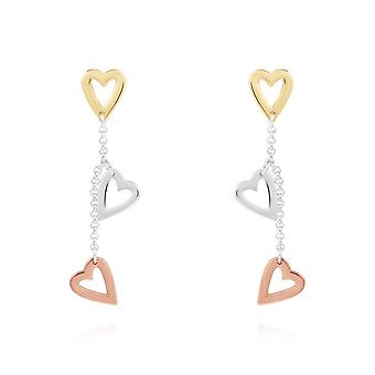 Joma joyería Florence corazón pendientes plata rosa oro y oro pendientes 4450