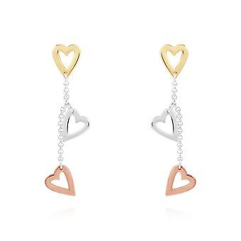 Joma Jewellery Florence Heart Brincos Prata Rosa Ouro e Brincos de Ouro 4450