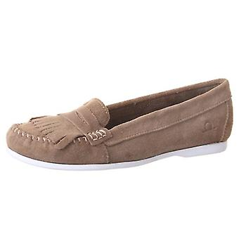 Chatham Penny Women's Fringe Loafer In Taupe Suede