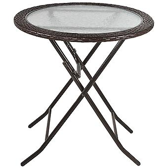 Outsunny Folding Round Tempered Glass Metal Table with Brown Rattan Edging