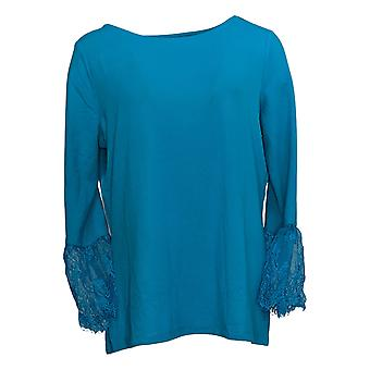 Belle By Kim Gravel Women's Top Lace Trim Bell Sleeve Blue A310242