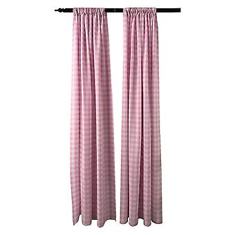 La Linen Pack 2  Polyester Gingham Checkered Backdrop, 58 By 96-Inch,Pink/White