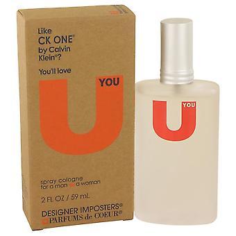 Impostores diseñador U usted Colonia Spray (Unisex) de Parfums De Coeur 2 oz Colonia Spray