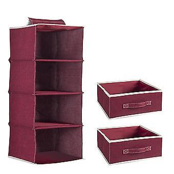 Bomull och linne Fyra lager hängande väska med låda lagring fyra lager förvaringsväska med två lådor