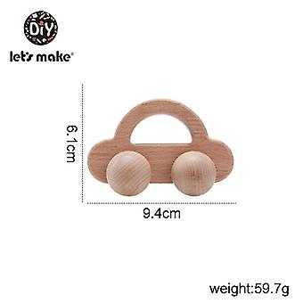 Car Shape Organic Beech For Babies Teether Kids Brain Game Toy