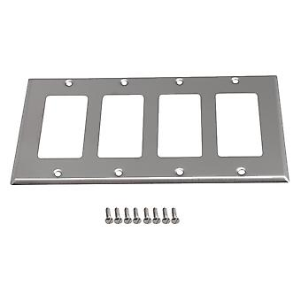 Silver Stainless Steel Anti-rust 4-Gang Socket Switch Wall Plate