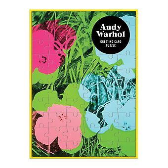 Andy Warhol Flowers Greeting Card Puzzle by By artist Andy Warhol & Created by Galison