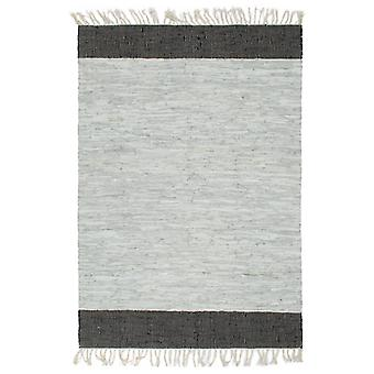 Hand-woven Chindi Rug Leather 160x230 cm