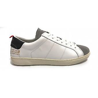 حذاء رجالي طموح 8102 حذاء رياضي في الجلد الأبيض / رمادي US20am03