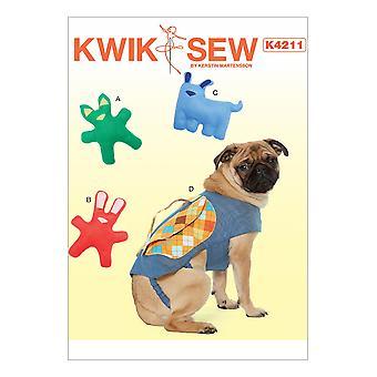 Kwik Sew Sewing Patterns 4211 Dog Pet Toy Backpack Size XS-XL