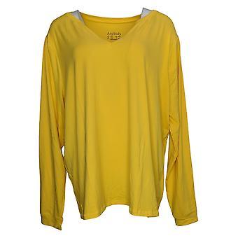 Hvem som helst kvinner høy børstet jersey langermet pyjamas gul A392399