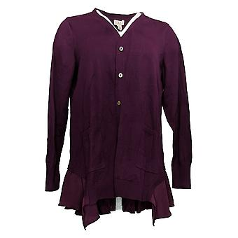 LOGO by Lori Goldstein Women's Sweater Cashmere Cardigan Purple A369084