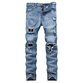 Mile Men's Ripped Jeans Pants, Distressed Destroyed Slim Fit Straight Leg Denim Pant With Holes