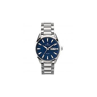 Accurist Mens Round Blue 100M Day Date Dial Stainless Steel Bracelet Watch 7219