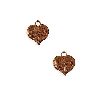 Vintaj Artisan Copper Teensie Nouveau Leaf Charms 13mm x 12mm (2)