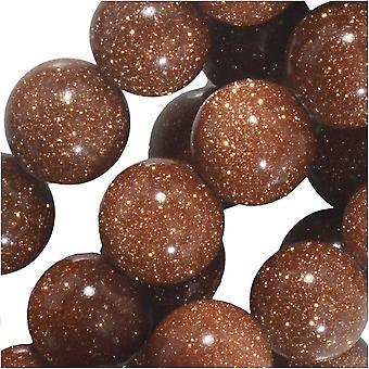 Dakota Stones Gemstone Beads, Goldstone, Round 8mm, 7.5 Inch Strand