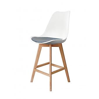 Fusion Living Eiffel Inspired White And Grey Plastic Bar Stool With Light Wood Legs